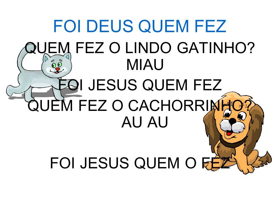 FOI DEUS QUEM FEZ QUEM FEZ O LINDO GATINHO MIAU FOI JESUS QUEM FEZ