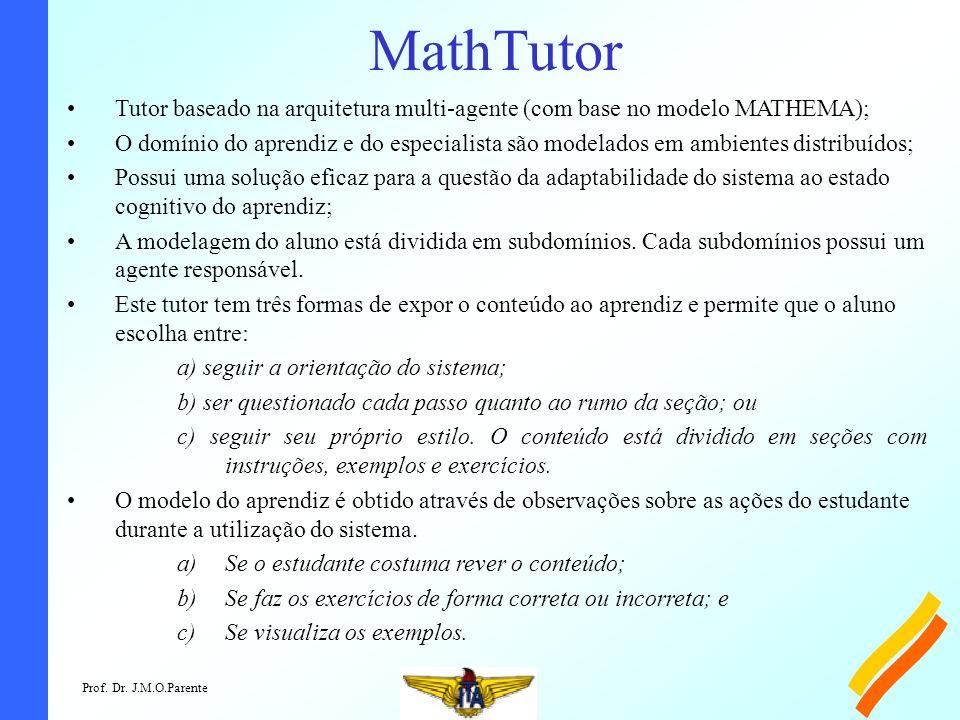 MathTutor Tutor baseado na arquitetura multi-agente (com base no modelo MATHEMA);