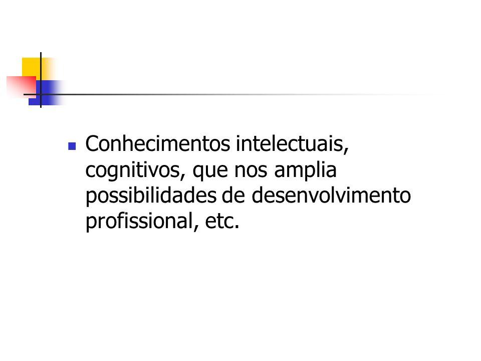 Conhecimentos intelectuais, cognitivos, que nos amplia possibilidades de desenvolvimento profissional, etc.