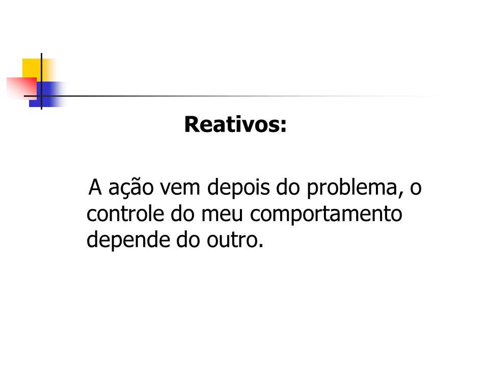 Reativos: A ação vem depois do problema, o controle do meu comportamento depende do outro.