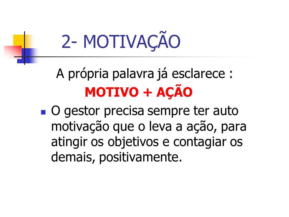 2- MOTIVAÇÃO A própria palavra já esclarece : MOTIVO + AÇÃO