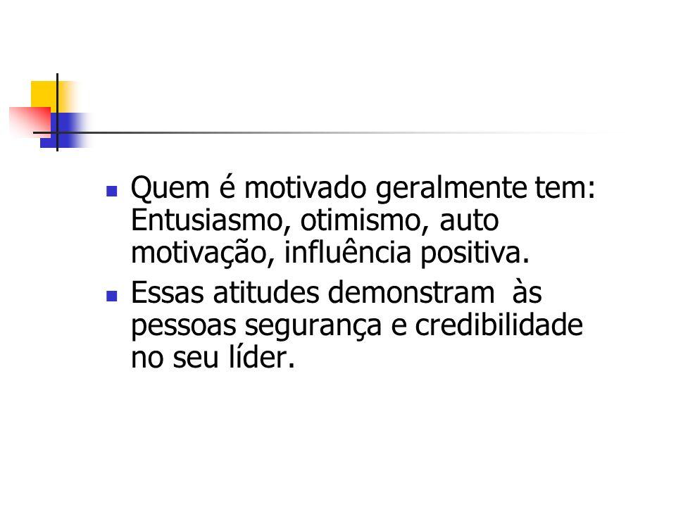 Quem é motivado geralmente tem: Entusiasmo, otimismo, auto motivação, influência positiva.