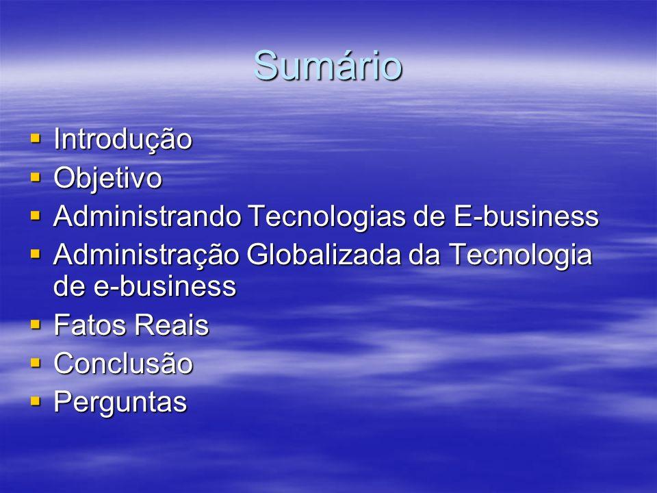 Sumário Introdução Objetivo Administrando Tecnologias de E-business