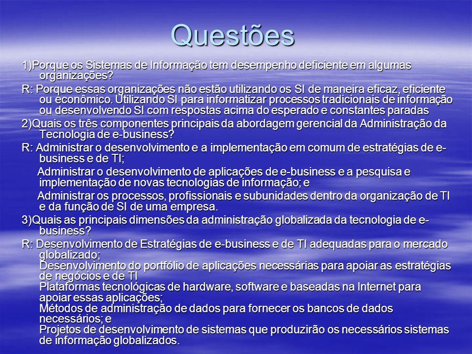 Questões 1)Porque os Sistemas de Informação tem desempenho deficiente em algumas organizações