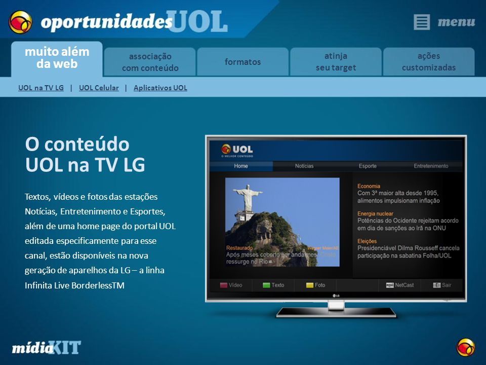 UOL na TV LG | UOL Celular | Aplicativos UOL