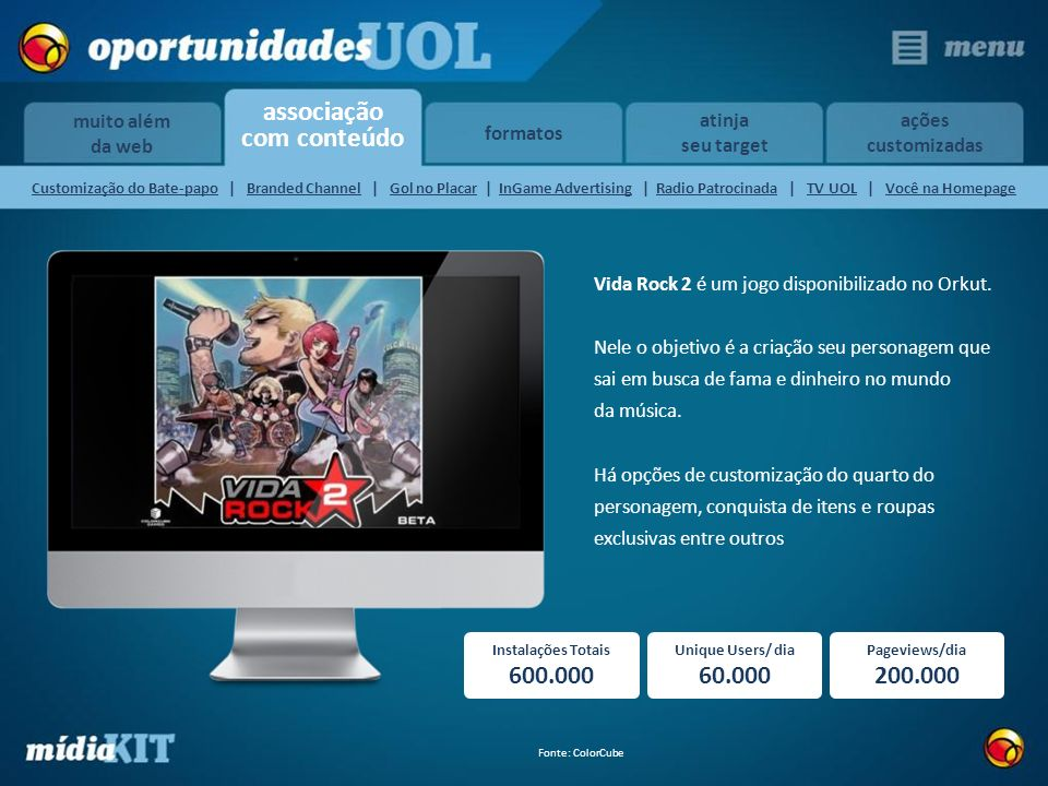 600.000 60.000 200.000 Vida Rock 2 é um jogo disponibilizado no Orkut.