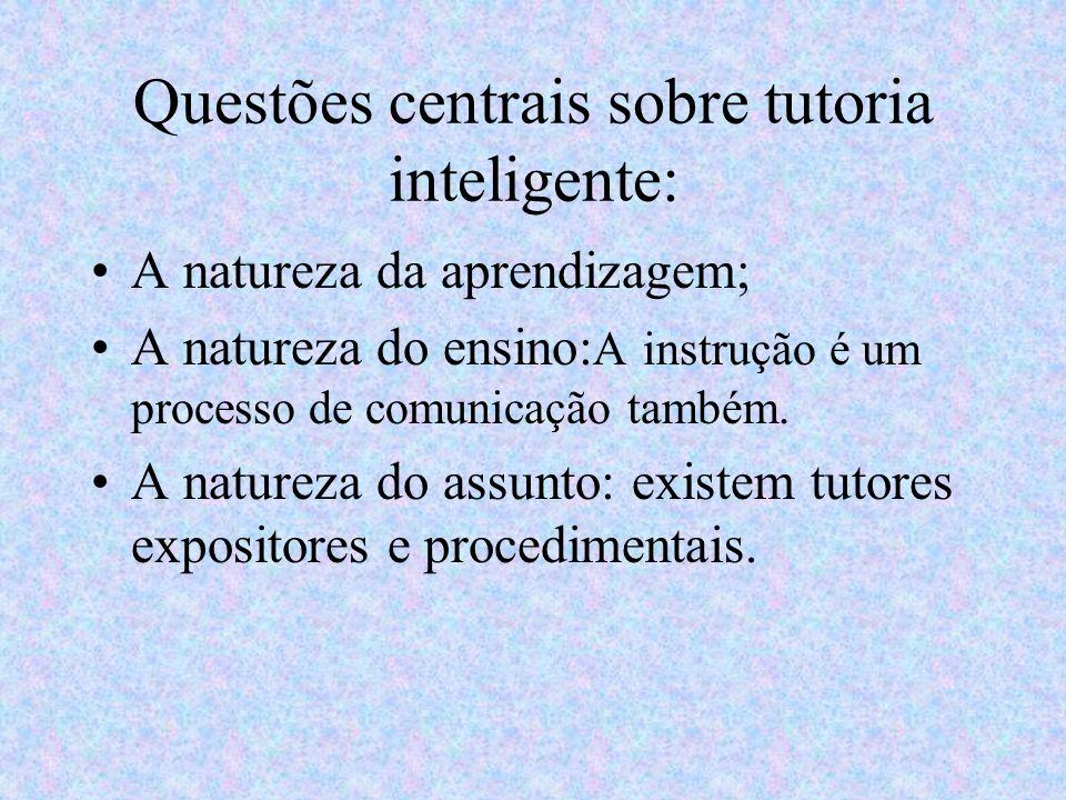 Questões centrais sobre tutoria inteligente: