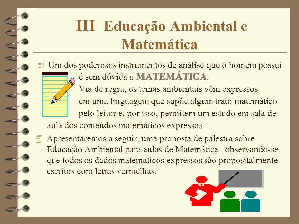 III Educação Ambiental e Matemática