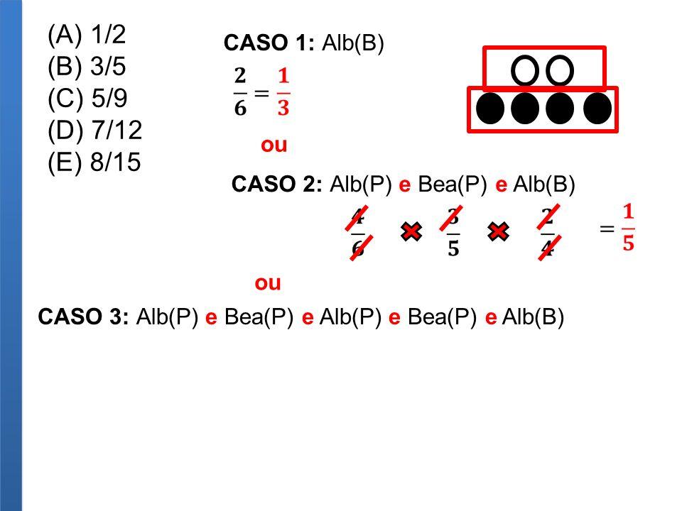 (A) 1/2 (B) 3/5 (C) 5/9 (D) 7/12 (E) 8/15 CASO 1: Alb(B) ou