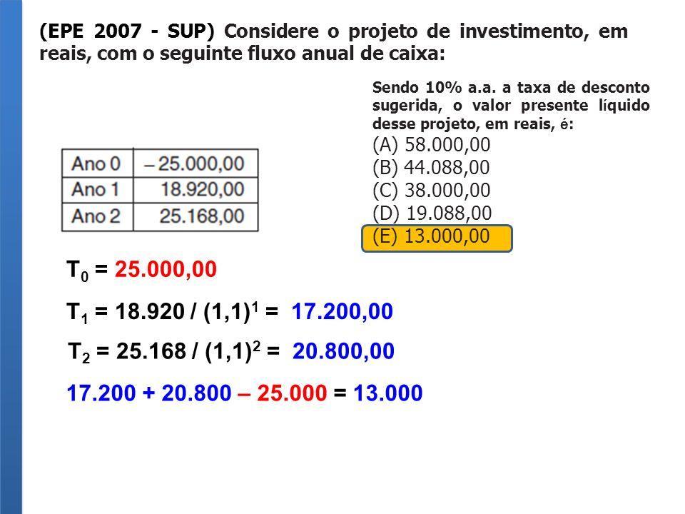(EPE 2007 - SUP) Considere o projeto de investimento, em reais, com o seguinte fluxo anual de caixa: