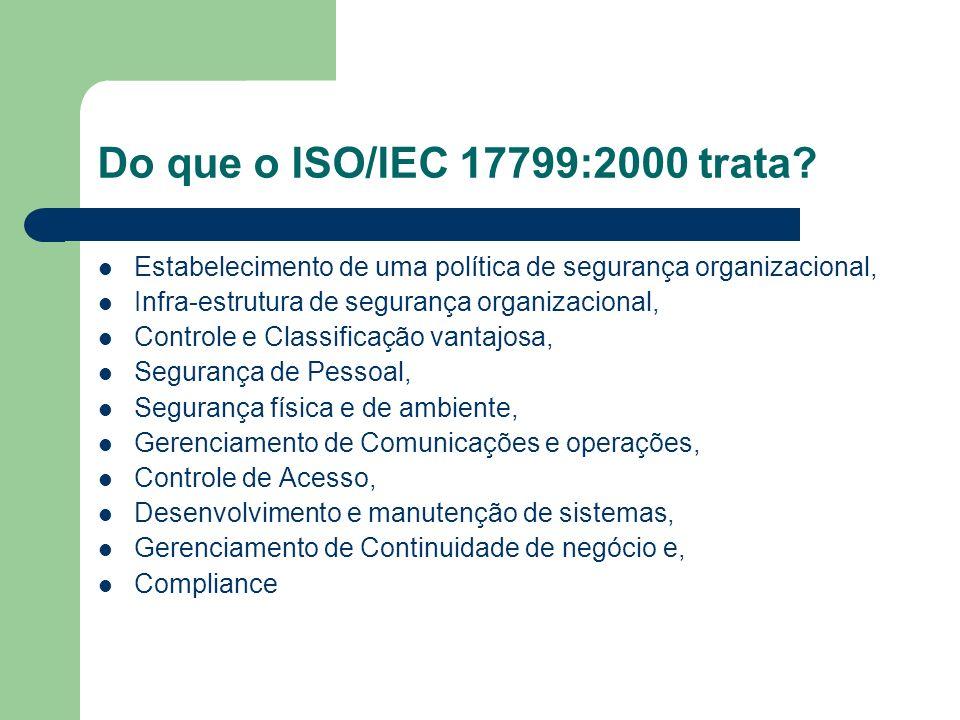 Do que o ISO/IEC 17799:2000 trata Estabelecimento de uma política de segurança organizacional, Infra-estrutura de segurança organizacional,
