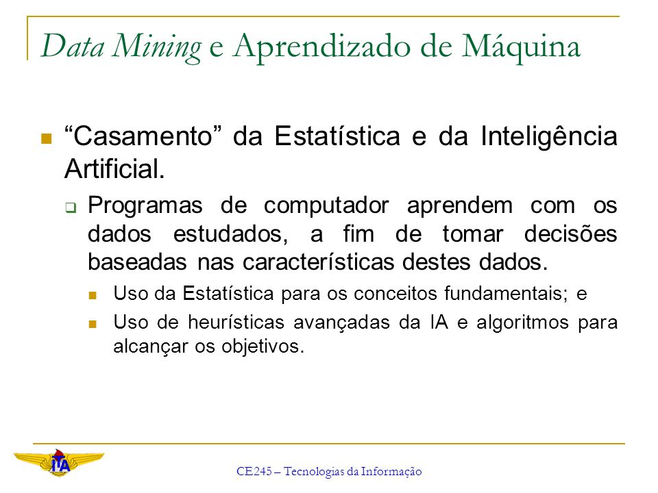 Data Mining e Aprendizado de Máquina