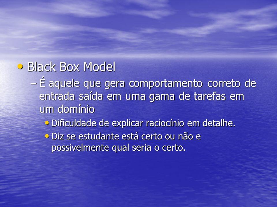 Black Box Model É aquele que gera comportamento correto de entrada saída em uma gama de tarefas em um domínio.
