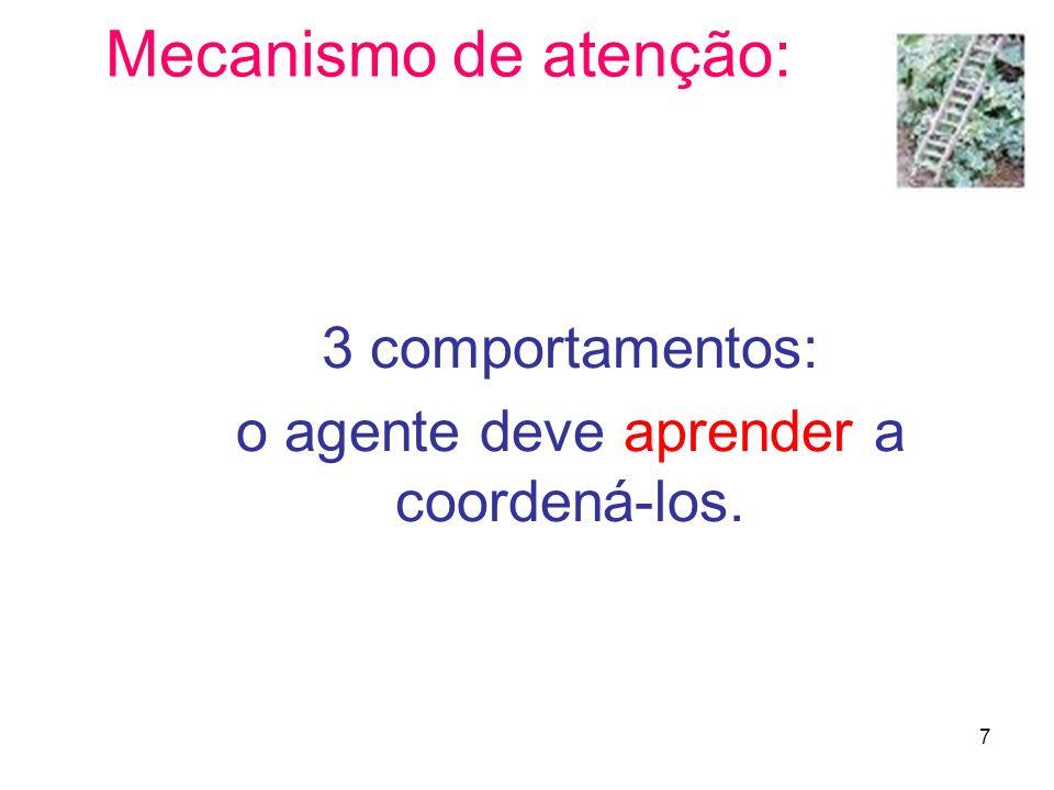 3 comportamentos: o agente deve aprender a coordená-los.