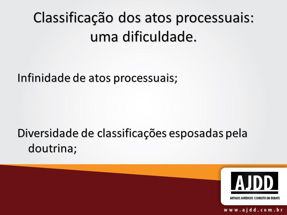 Classificação dos atos processuais: uma dificuldade.