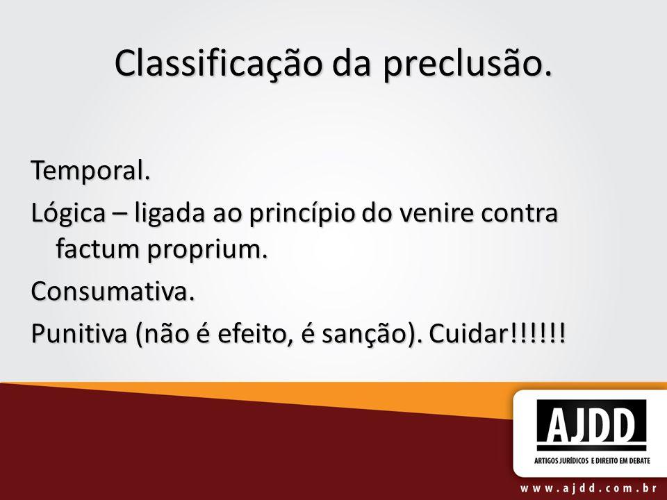 Classificação da preclusão.