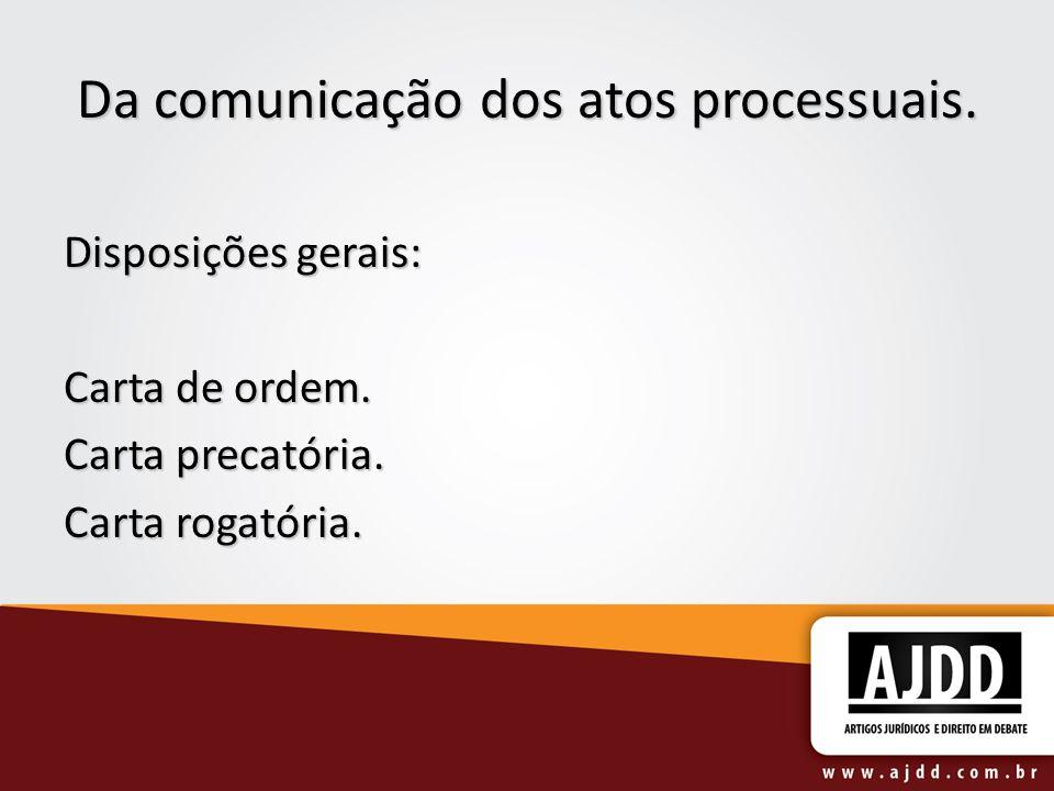 Da comunicação dos atos processuais.