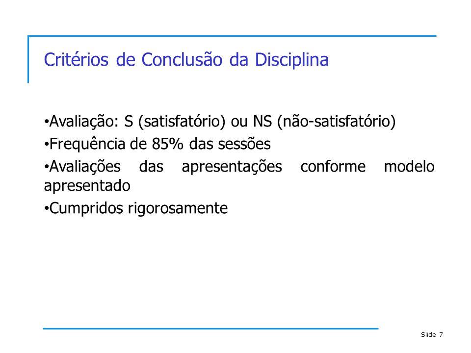 Critérios de Conclusão da Disciplina