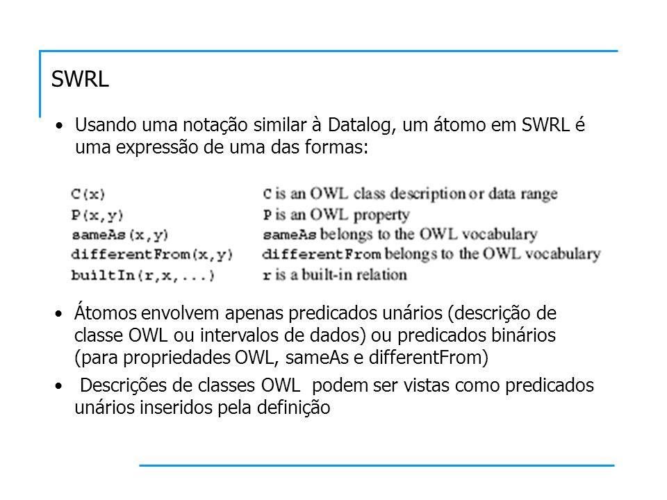 SWRLUsando uma notação similar à Datalog, um átomo em SWRL é uma expressão de uma das formas: