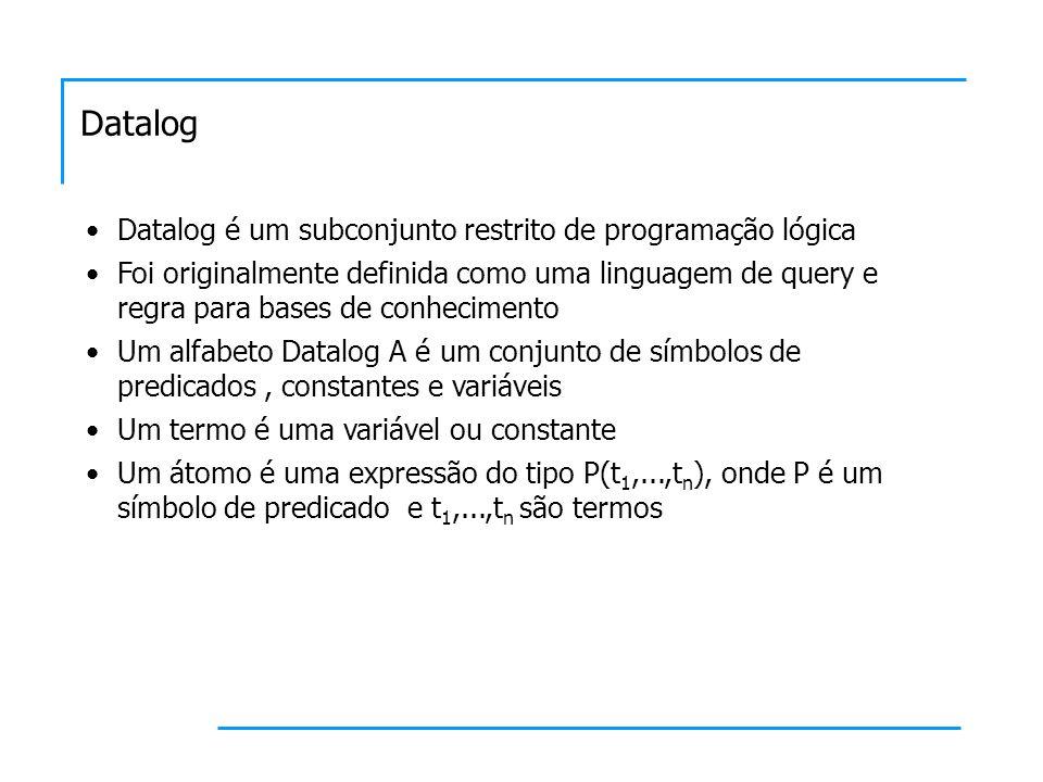 Datalog Datalog é um subconjunto restrito de programação lógica