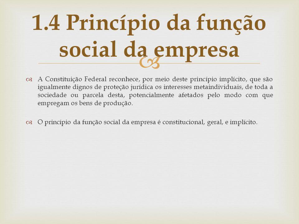 1.4 Princípio da função social da empresa