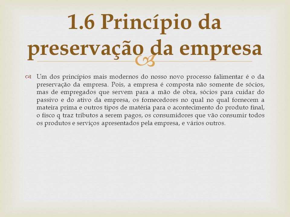 1.6 Princípio da preservação da empresa