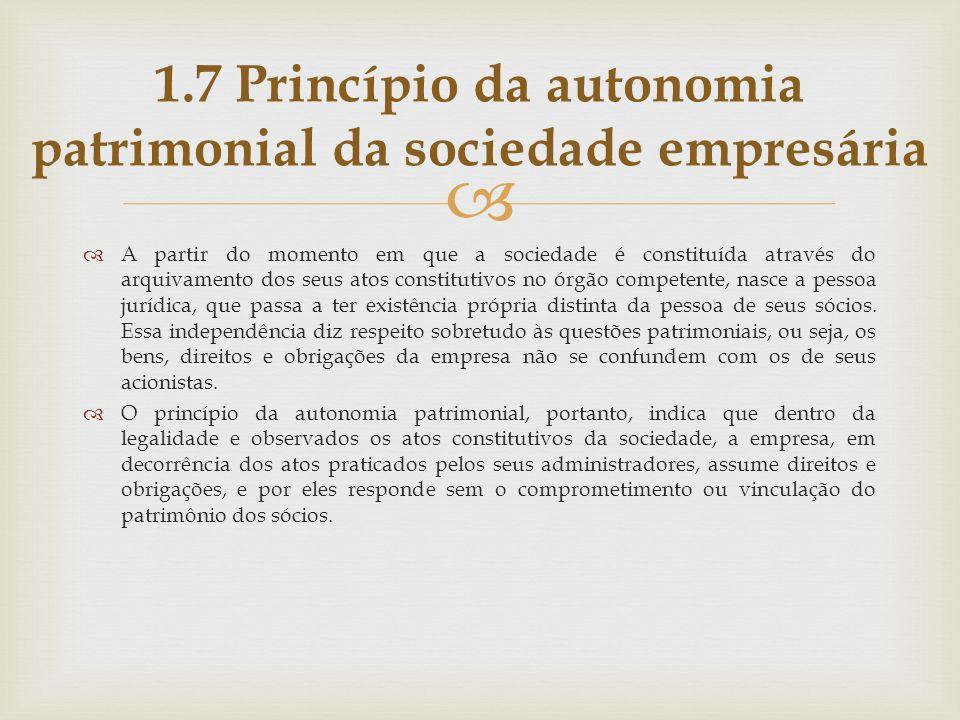 1.7 Princípio da autonomia patrimonial da sociedade empresária