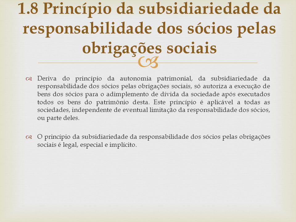 1.8 Princípio da subsidiariedade da responsabilidade dos sócios pelas obrigações sociais