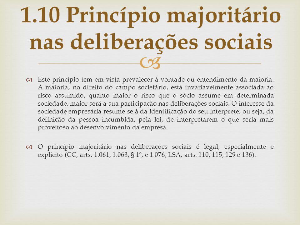 1.10 Princípio majoritário nas deliberações sociais
