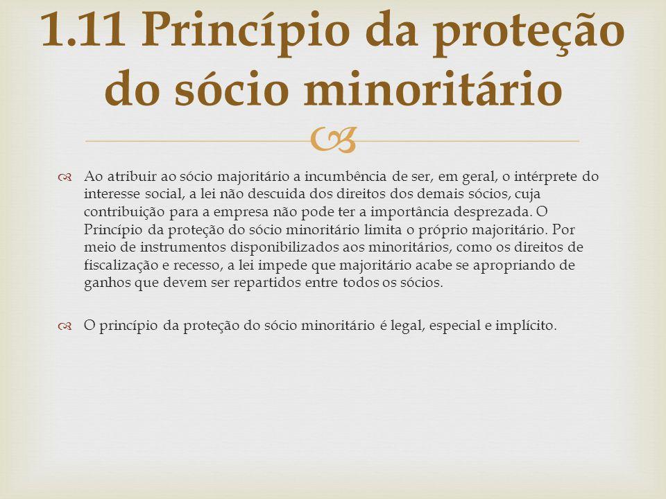 1.11 Princípio da proteção do sócio minoritário