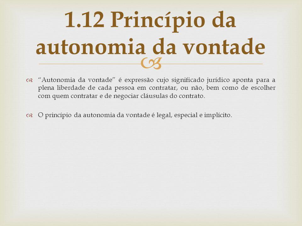 1.12 Princípio da autonomia da vontade