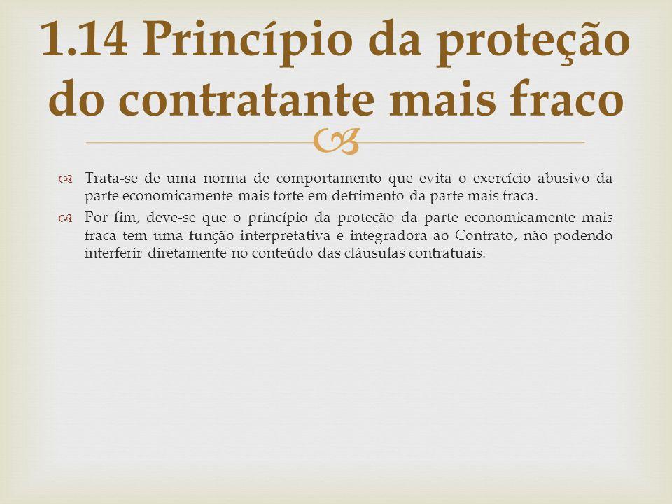 1.14 Princípio da proteção do contratante mais fraco