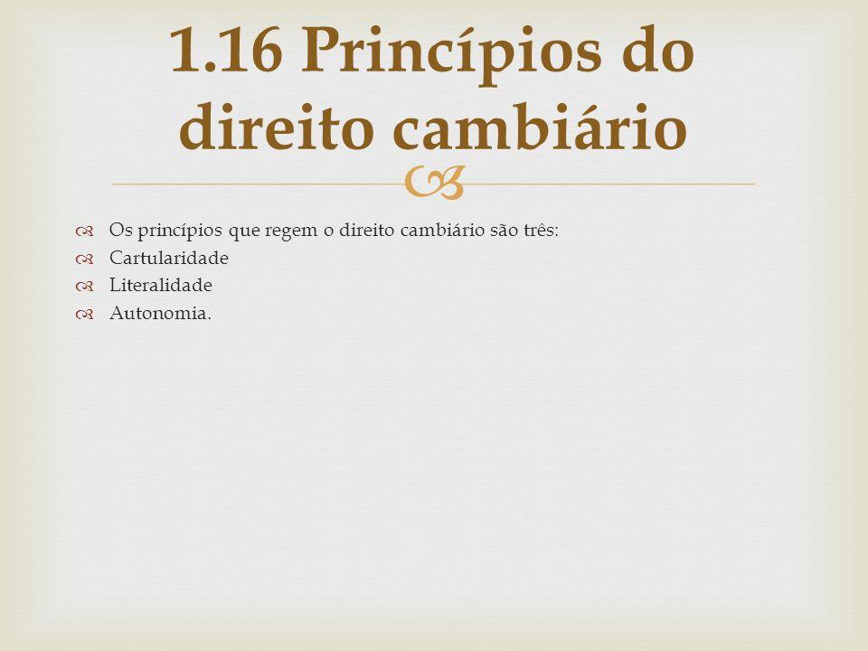 1.16 Princípios do direito cambiário
