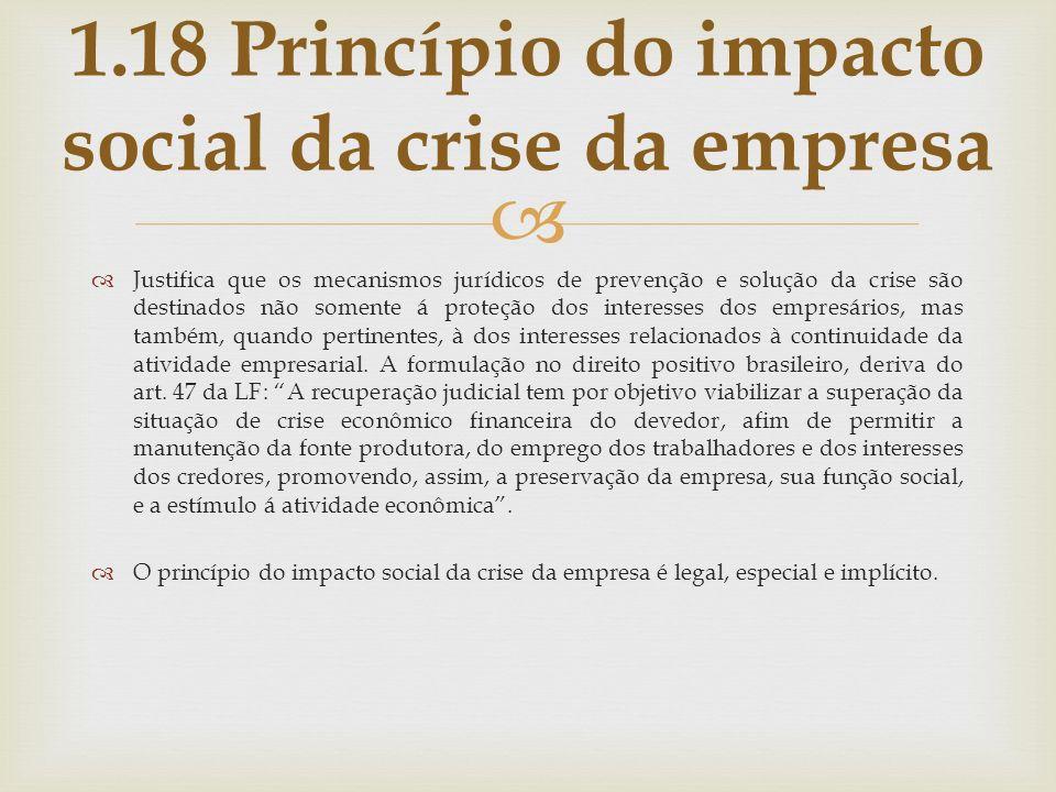 1.18 Princípio do impacto social da crise da empresa