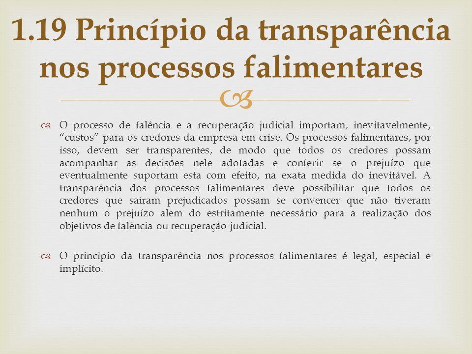1.19 Princípio da transparência nos processos falimentares