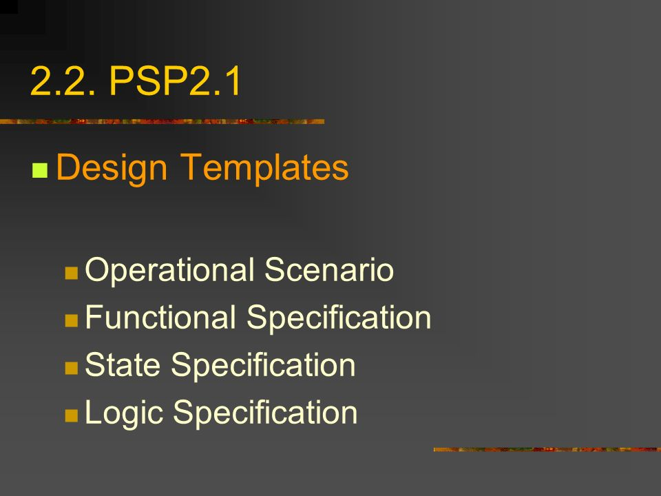 2.2. PSP2.1 Design Templates Operational Scenario