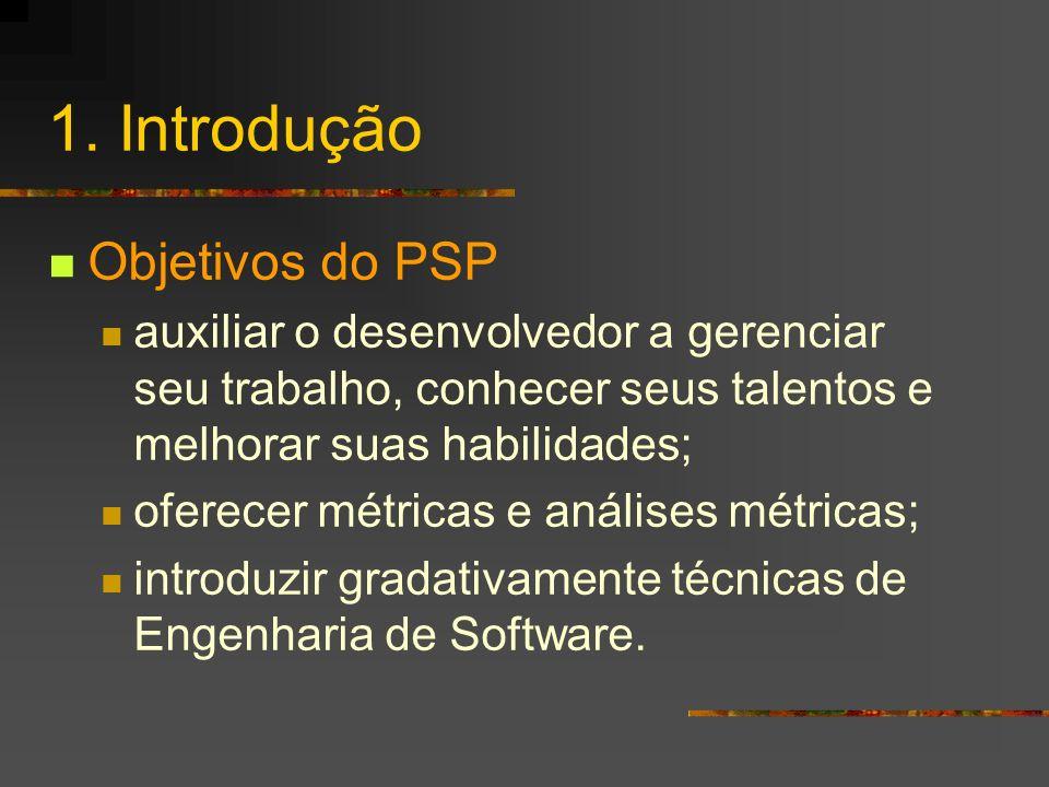 1. Introdução Objetivos do PSP
