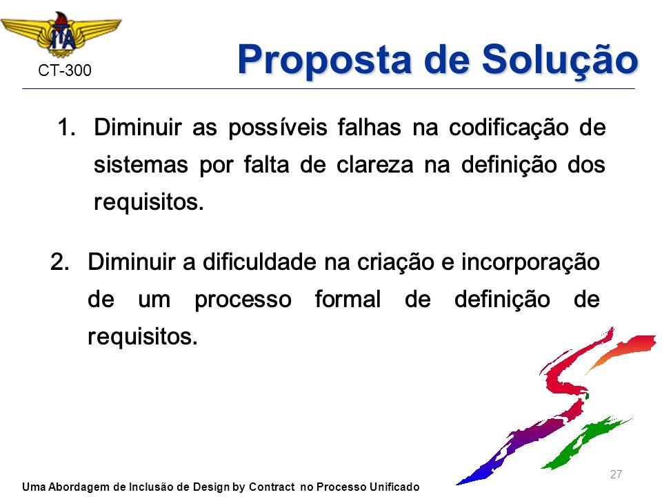 Proposta de Solução Diminuir as possíveis falhas na codificação de sistemas por falta de clareza na definição dos requisitos.