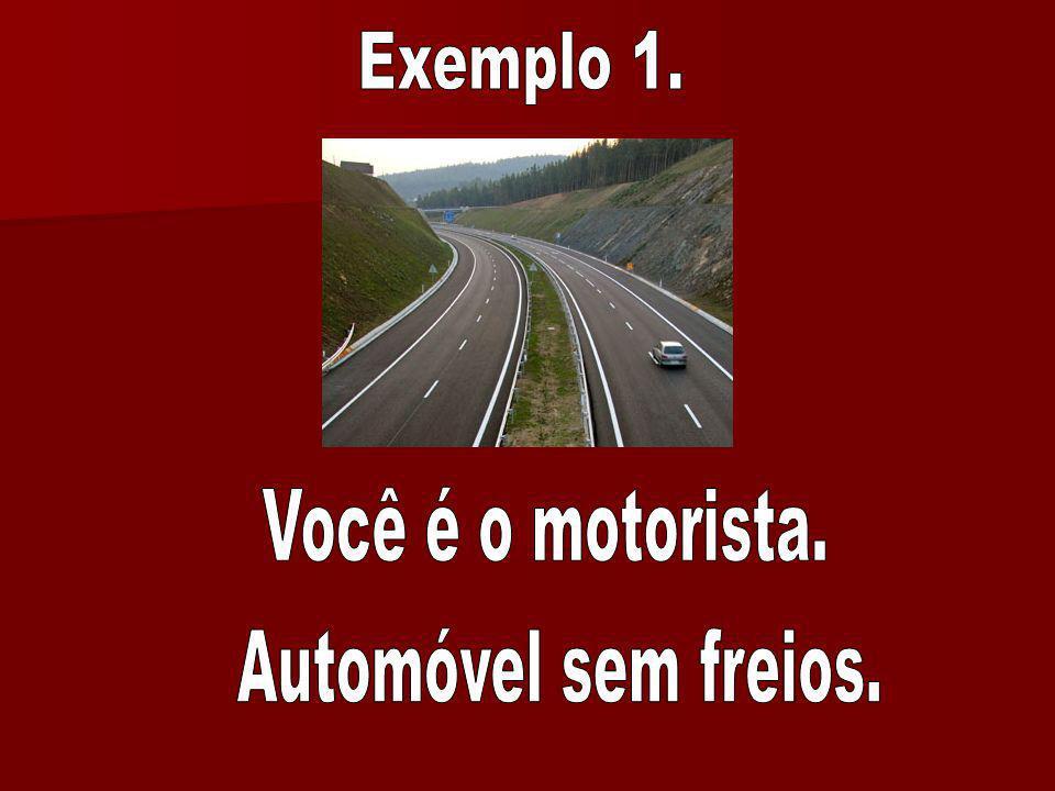 Exemplo 1. Você é o motorista. Automóvel sem freios.