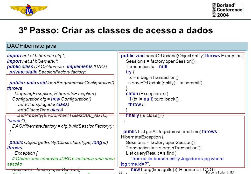 3º Passo: Criar as classes de acesso a dados