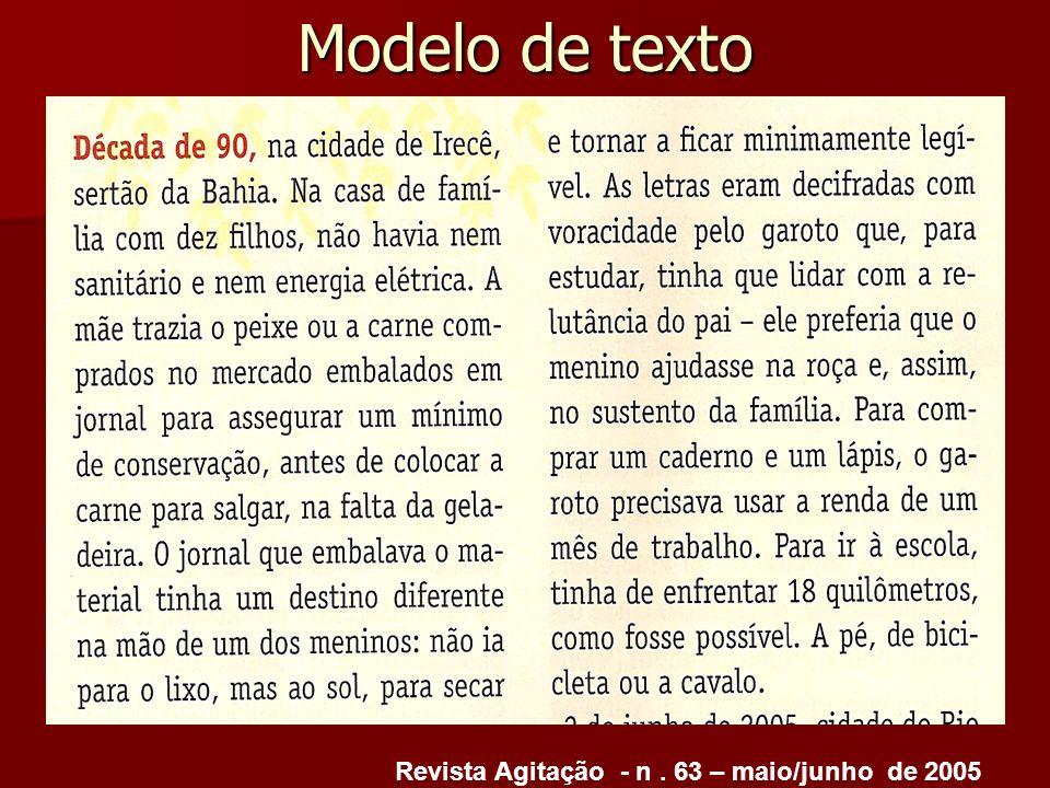 Modelo de texto Revista Agitação - n . 63 – maio/junho de 2005
