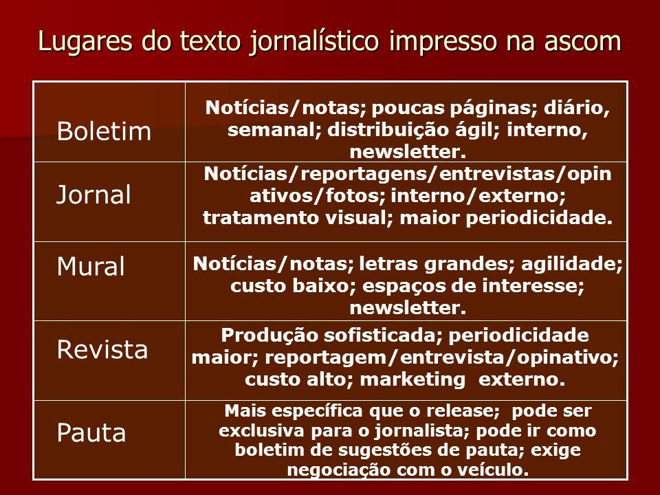 Lugares do texto jornalístico impresso na ascom