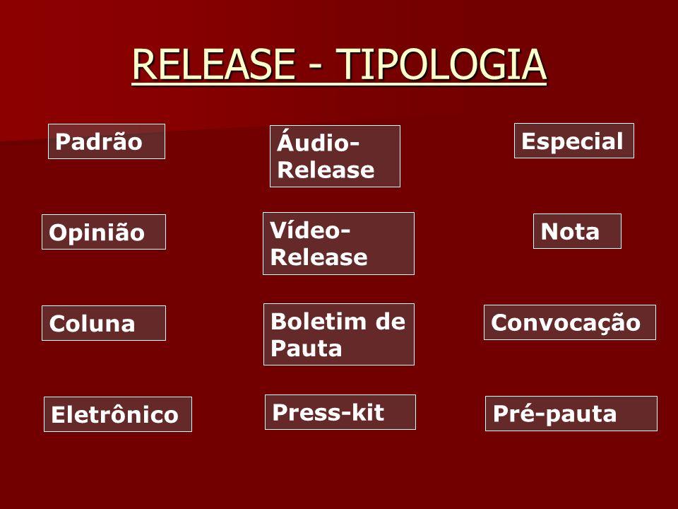 RELEASE - TIPOLOGIA Padrão Áudio-Release Especial Vídeo-Release