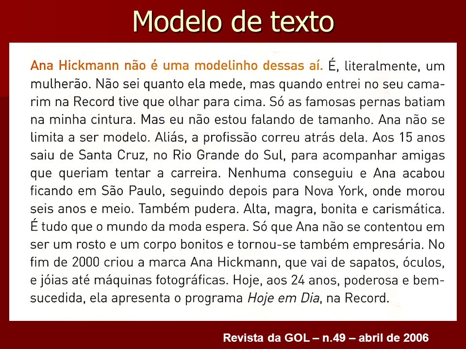Modelo de texto Revista da GOL – n.49 – abril de 2006