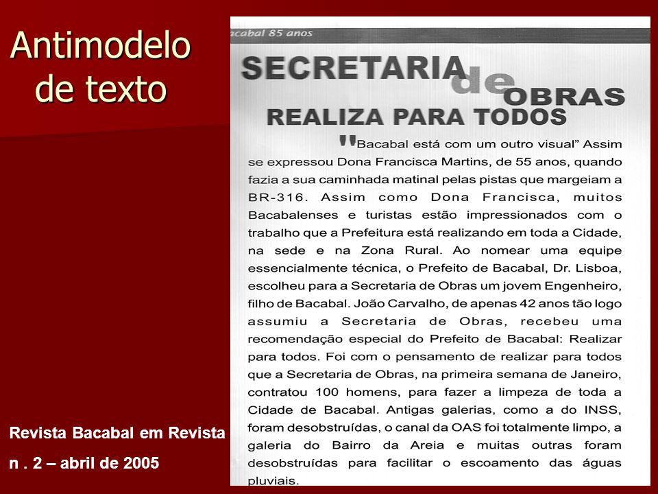 Antimodelo de texto Revista Bacabal em Revista n . 2 – abril de 2005