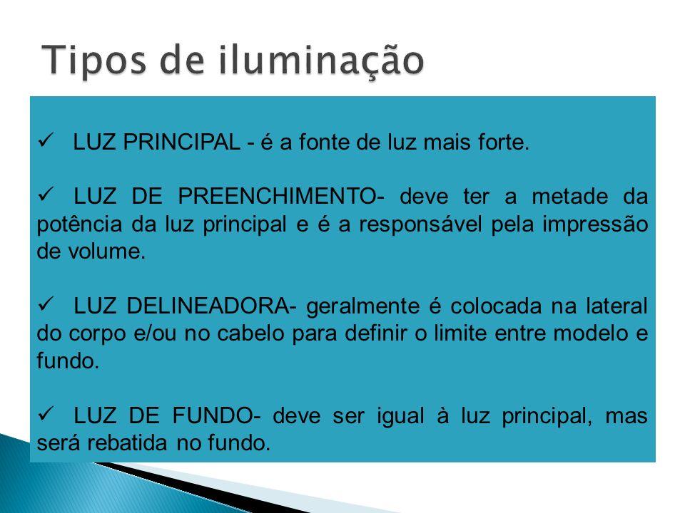 Tipos de iluminação LUZ PRINCIPAL - é a fonte de luz mais forte.