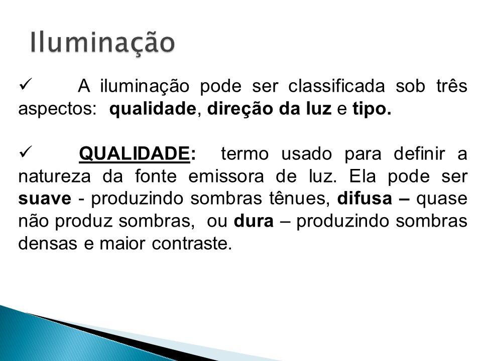 Iluminação A iluminação pode ser classificada sob três aspectos: qualidade, direção da luz e tipo.