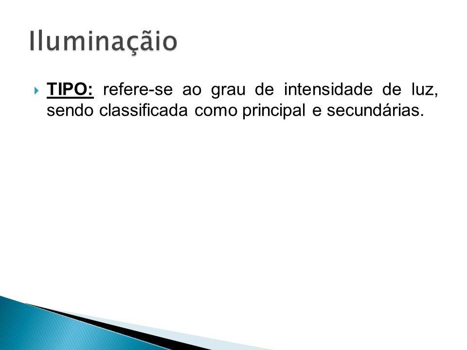 Iluminaçãio TIPO: refere-se ao grau de intensidade de luz, sendo classificada como principal e secundárias.