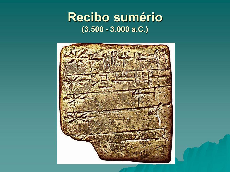 Recibo sumério (3.500 - 3.000 a.C.)