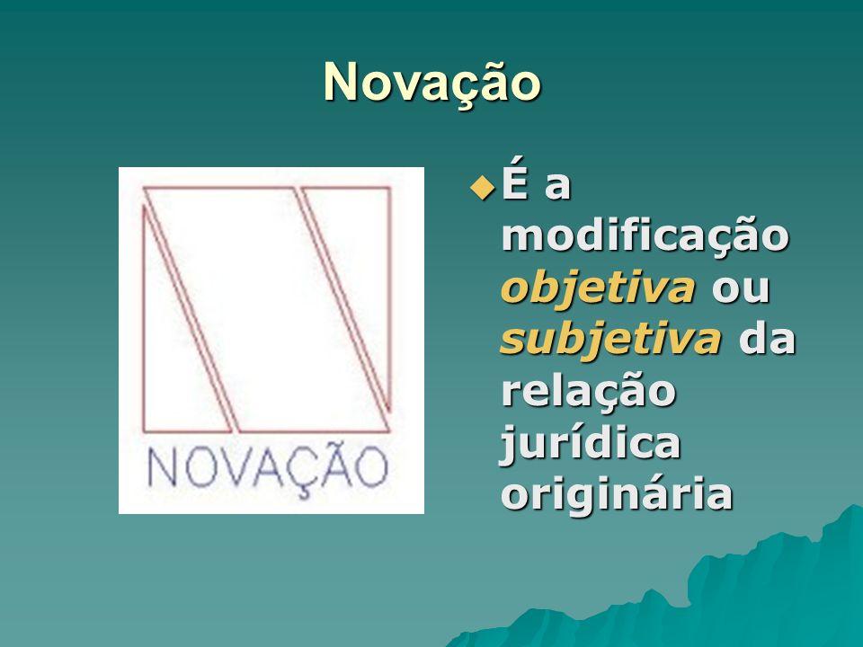 Novação É a modificação objetiva ou subjetiva da relação jurídica originária